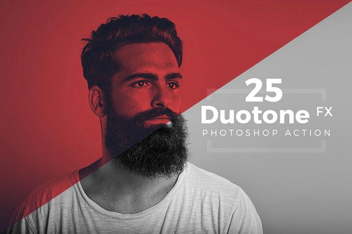 25 duotone Photoshop actions.