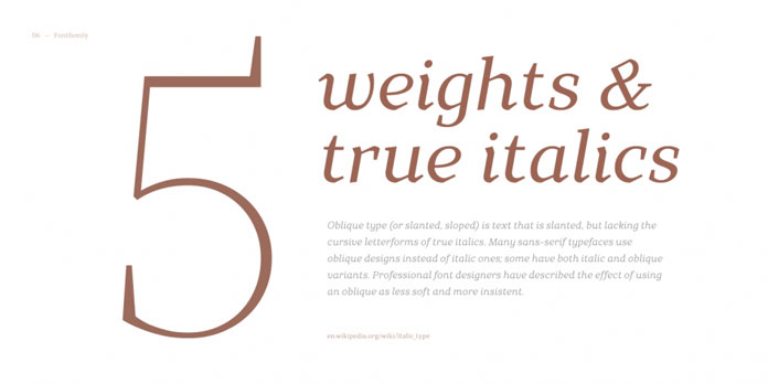 5 weights plus true Italics.