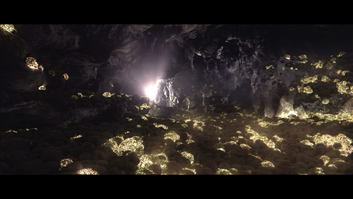 Illuminating cacti in a cave.