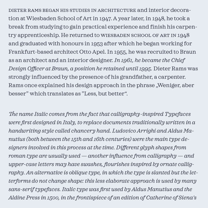 Text samples with upright characters and Italics.