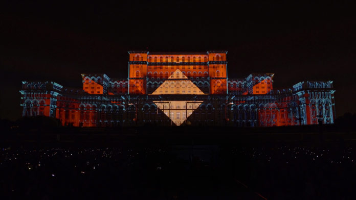 Geometric shapes projected on the second largest administrative building in the world.