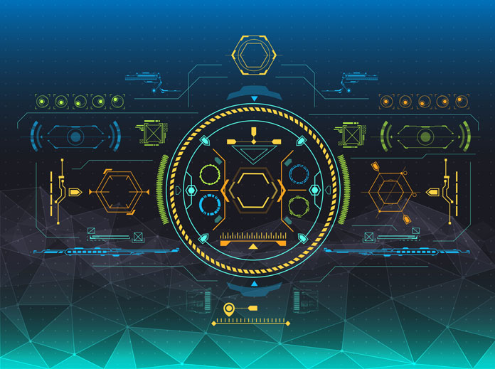 HUD and GUI graphics in a futuristic style.
