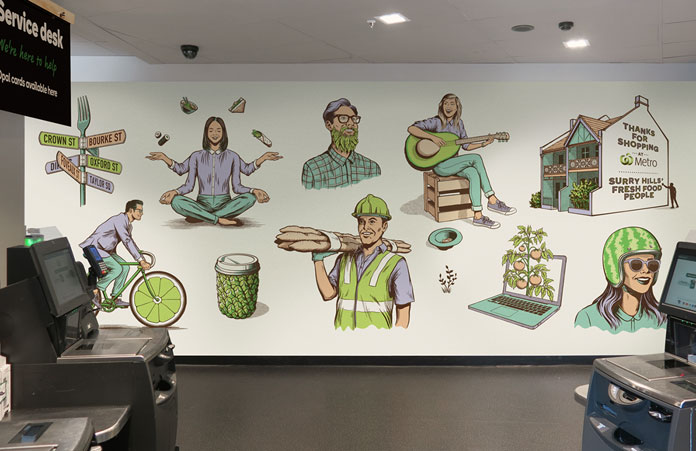 Mural design within a Woolworths Metro supermarket.