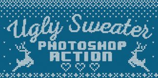 Christmas sweater Photoshop action.