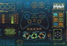 Futuristic HUD and GUI graphics.
