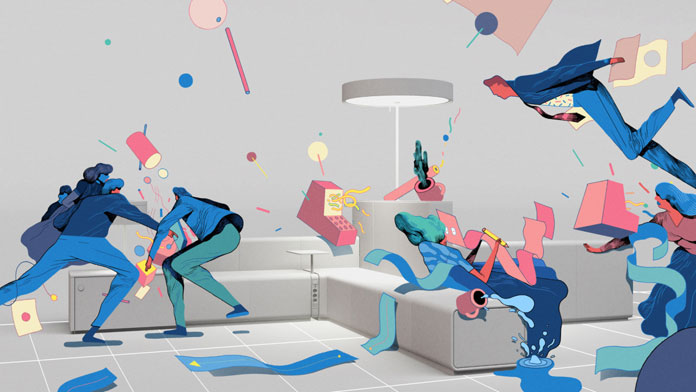 Illustration for fall catalog of office furniture company Bene.
