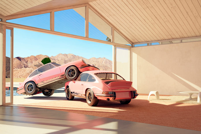 Two Porsches in an artistic performance.