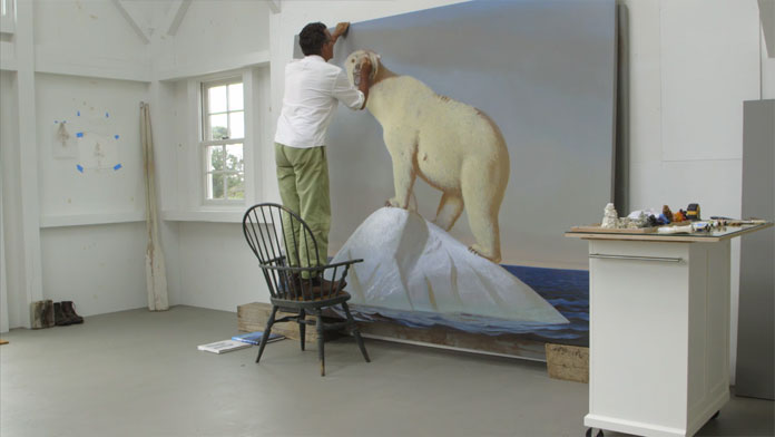 The artist while working in his studio.