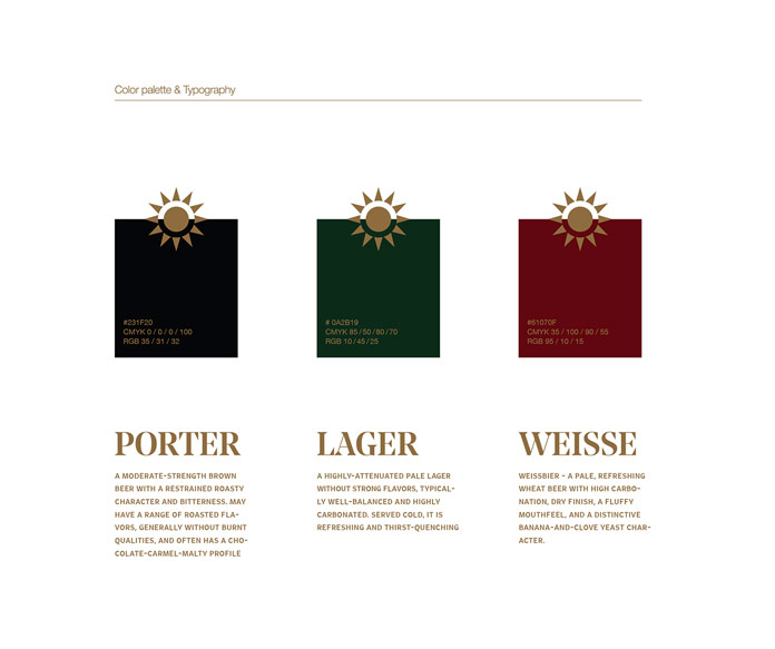 Different color schemes for Porter, Lager, and Weisse.