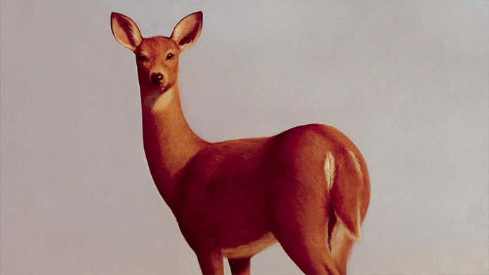 Close up of his painting Deer from 1993.