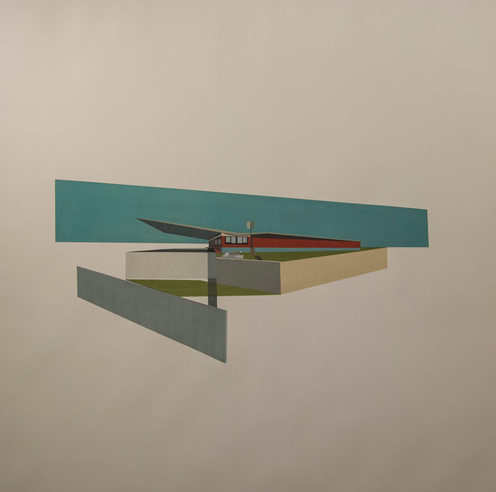 Architectural Addendum – Lissitzky, oil on paper, 44 x 44 inches, 2016