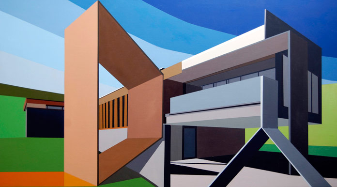 Architectural Addendum – Rohe, oil on panel, 40 x 22 inches, 2016