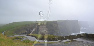 Body paintings that interact with the environment by Trina Merry.