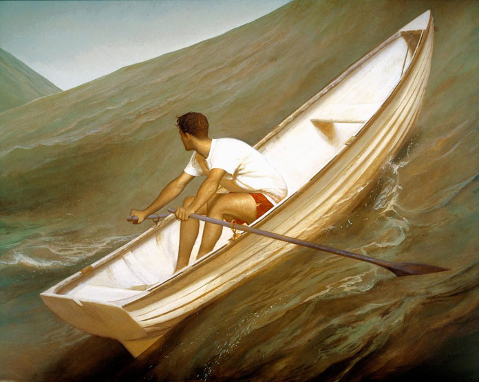 Lifeboat, Bo Bartlett, oil on linen, 80 x 100, 1998