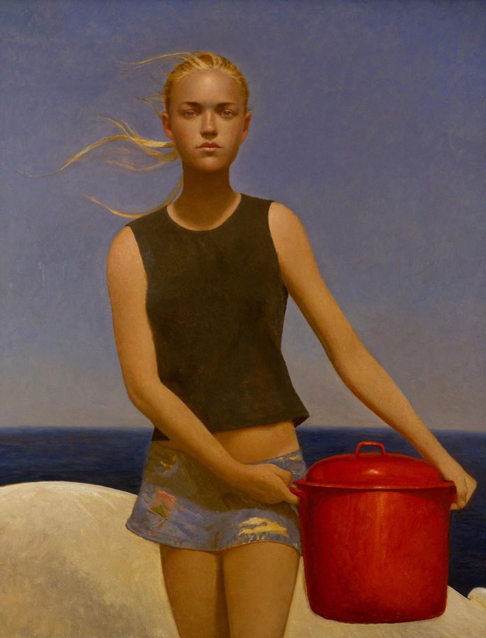 Lobster Girl, Bo Bartlett, oil on linen, 58 x 48, 2004