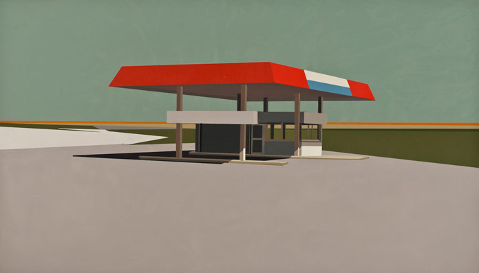 Summer Grey Gas Station in Patina Blue, oil on panel, 12 x 21 inches, 2012