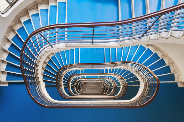 Bauhaus and Art Deco stairwells in Budapest, Hungary.