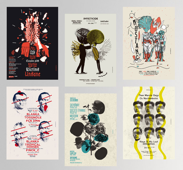 Creative designs made for different bands and concerts.