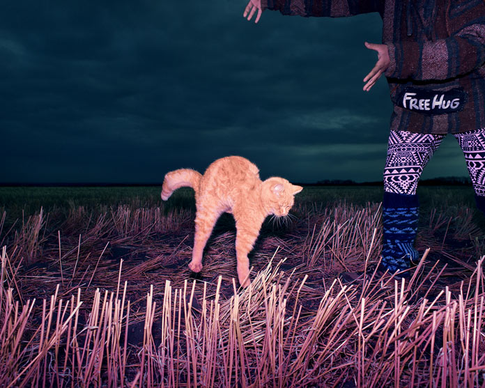 """Cat during a Levitation telekinesis and free hug"", Saskatchewan, Canada, 2014."