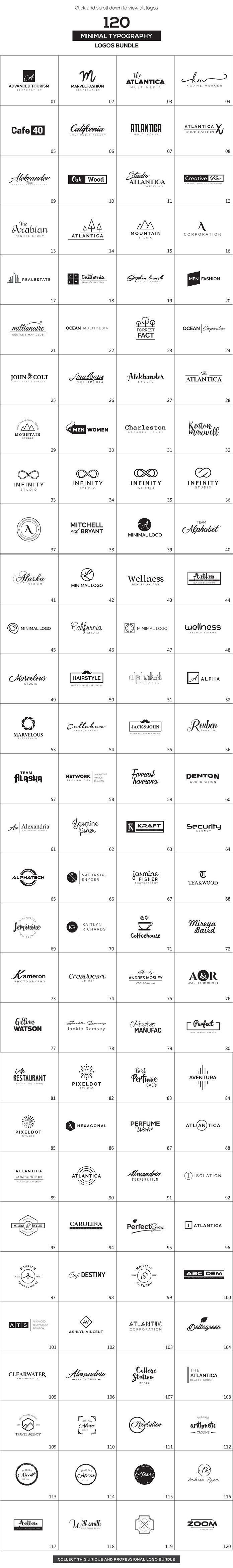 120 minimalist logos in one big bundle.