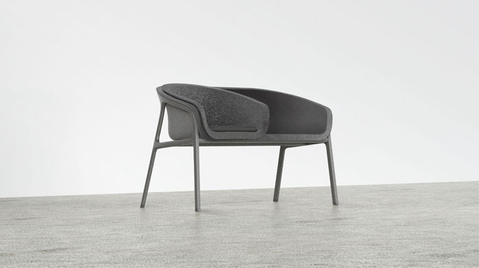 The frames' standardized curvature allows the shells to be stacked and configured in a variety of unique combinations.