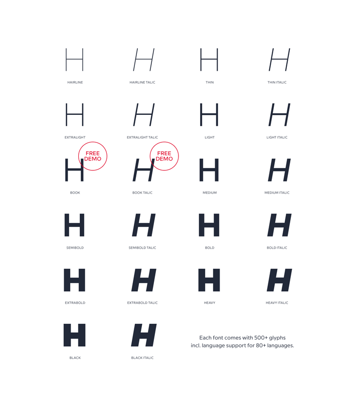 René Bieder's Milliard typeface - all weights and Italics.