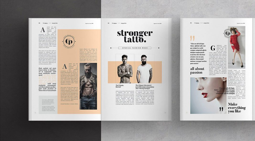 Adobe InDesign magazine template.