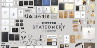 Adobe Photoshop header stationery scene generator.