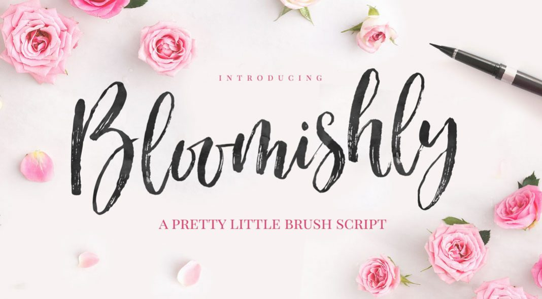 Bloomishly brush script typeface by Nicky Laatz.