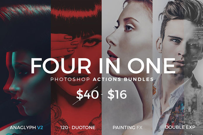 Four Photoshop actions in one big bundle.