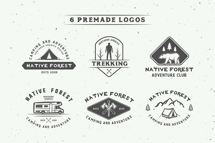 6 premade vintage logos.