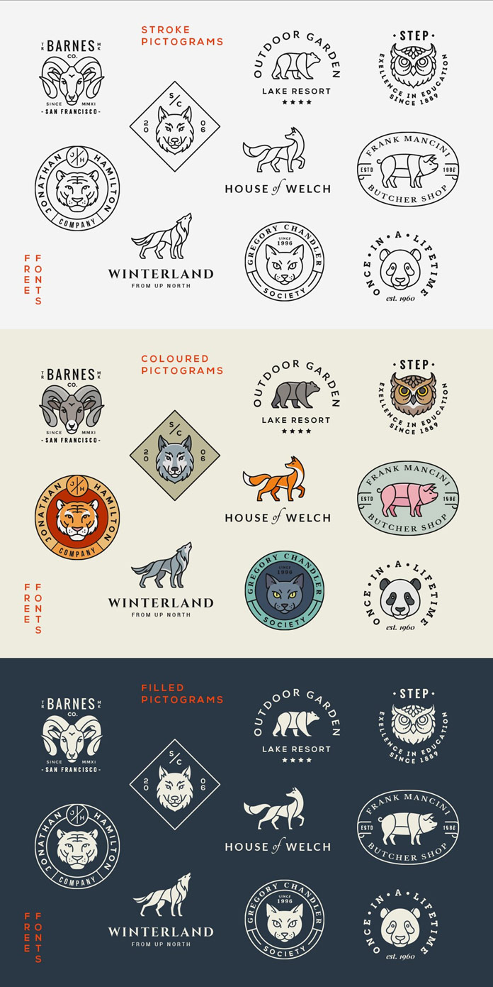 Animal logos/badges - stroke, colored, and filled pictograms