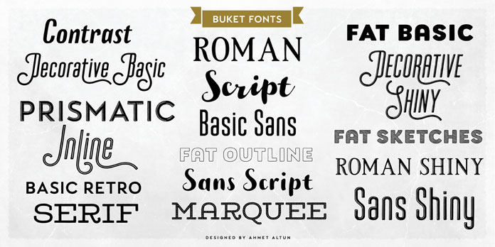 Buket, a multiple classification font collection by Ahmet Altun.