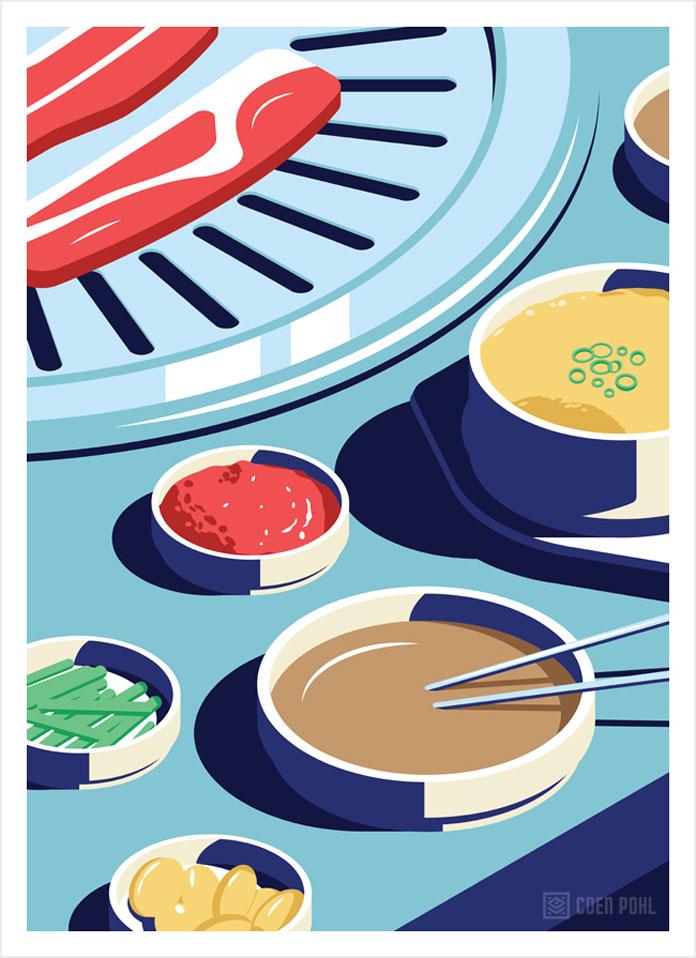 Korean BBQ, Coen Pohl illustration.