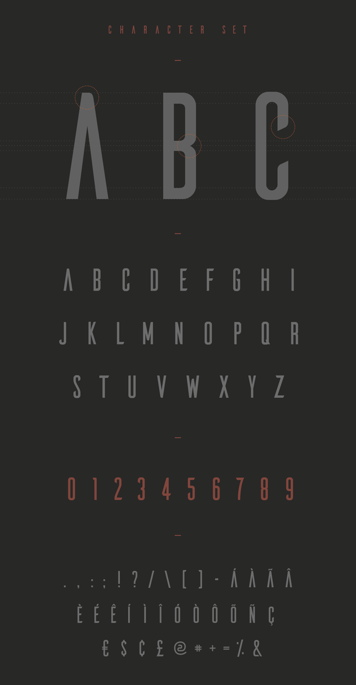Character set with letters and numbers.