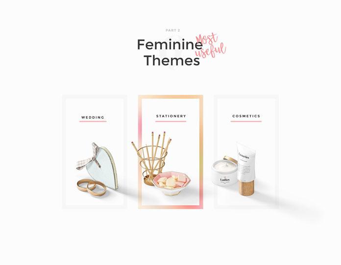 Feminine themes.