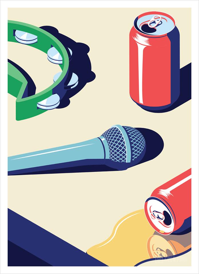 Karaoke Rooms, Coen Pohl illustration.
