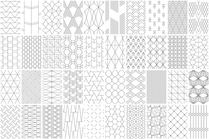 40 seamless geometric line vector patterns.