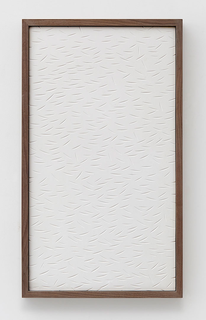 Anthony Pearson, Untitled (Etched Plaster), 2014, hydrocal in walnut frame.