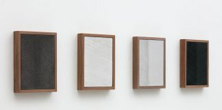 Anthony Pearson, Untitled (Four Part Etched Plaster), 2015, pigmented hydrocal and medium coated pigmented hydrocal in walnut frames.