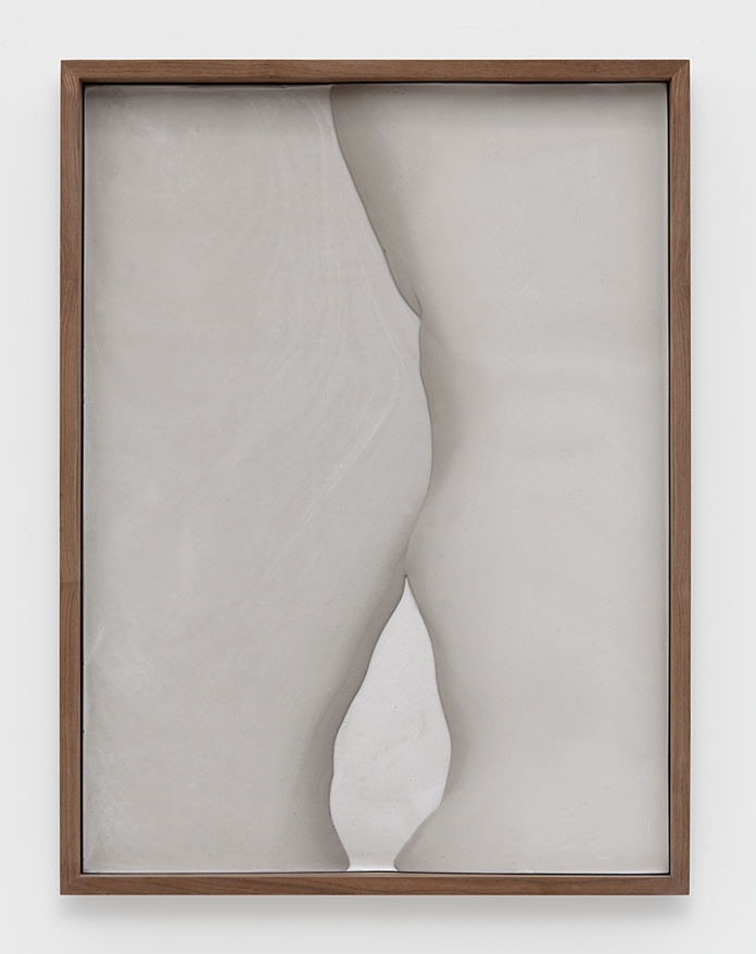 Anthony Pearson, Untitled (Plaster Positive), 2015, pigmented hydrocal in walnut frame.