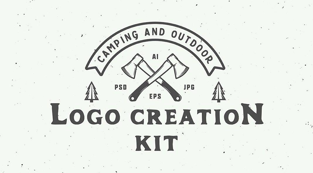 Camping outdoor logo creation kit.