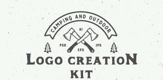 Camping outdoor logo creation kit.