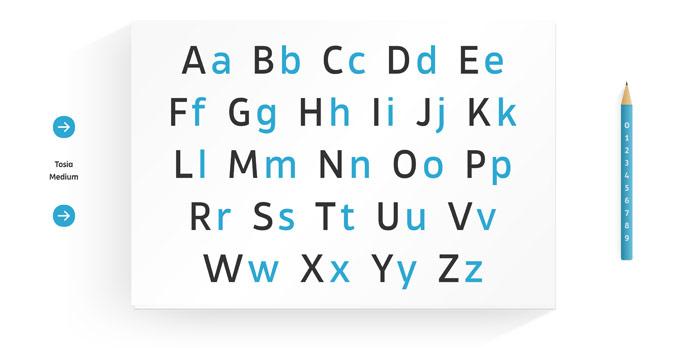 Modern, geometric, clean, elegant Tosia typeface.