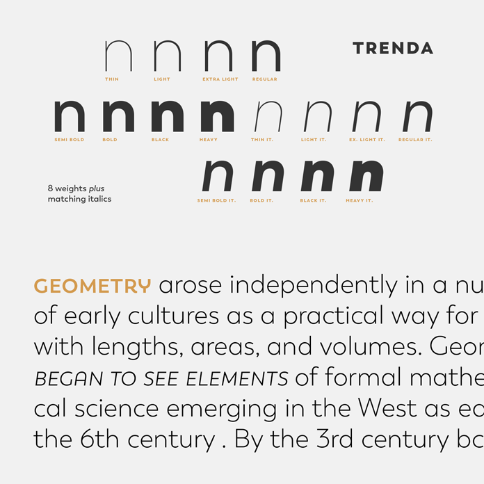 Trenda font family, 8 weights plus matching Italics.