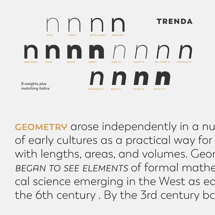 Trenda font family, 8 weights plus matching Italics.