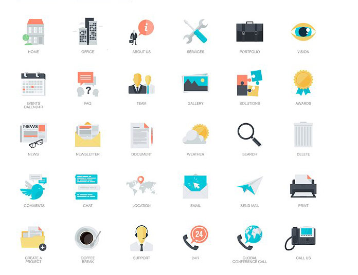 270 flat icons for Adobe Illustrator and Photoshop.