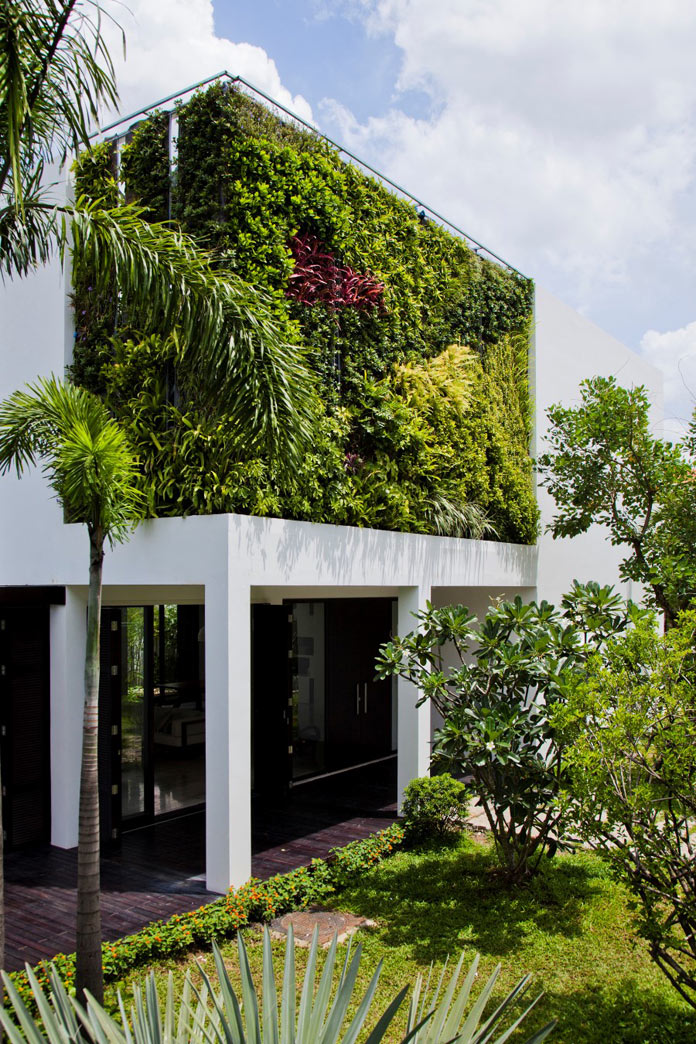 House with a vertical garden.
