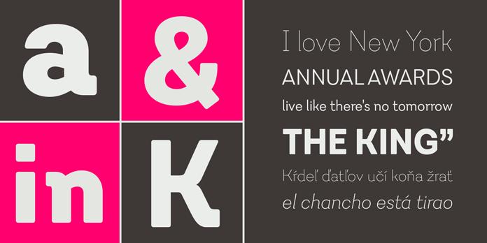 Javiera, a geometric sans serif designed by Enrique Hernandez.