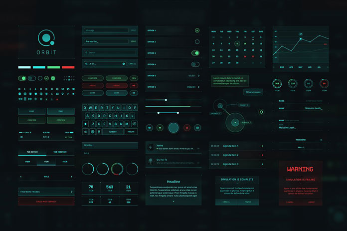 Orbit SciFi UX/UI design kit for Adobe Photoshop.